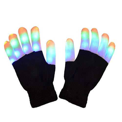 hthandschuhe, blinkende Fingerlichter Spielzeug mit 3 LED-Leuchten und 7 Leuchtmodi Rave-Handschuhe für Halloween,Weihnachten,Party,Radfahren,Geburtstag,Disco-Clubs, Festivals ()