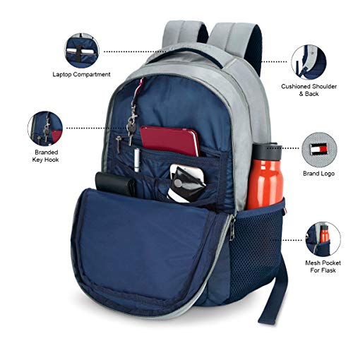 Tommy Hilfiger Rene 25 Ltrs Light Grey Laptop Backpack (TH/RENELAP07) Image 5