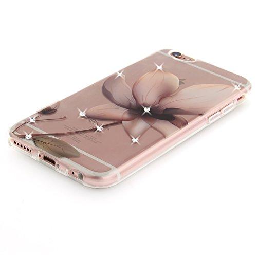 Apple iPhone 6/6S Coque, Voguecase (Diamant bling)TPU avec Absorption de Choc, Etui Silicone Souple Transparent, Légère / Ajustement Parfait Coque Shell Housse Cover pour Apple iPhone 6/6S 4.7 (creuse magnolia