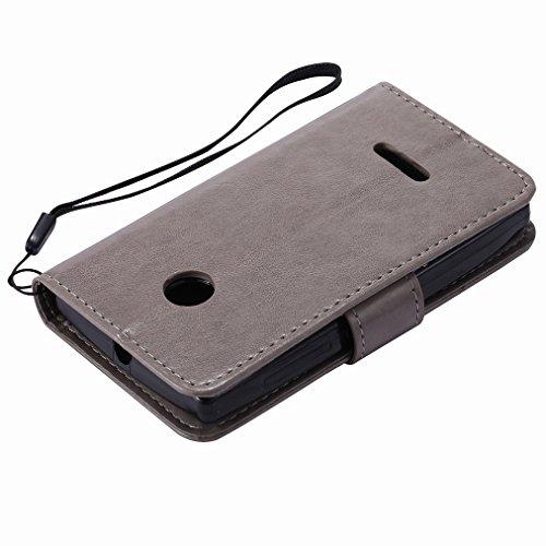 Custodia Microsoft Lumia 435 Cover Case, Ougger Fortunato Foglia Stampa Portafoglio PU Pelle Magnetico Stand Morbido Silicone Flip Bumper Protettivo Gomma Shell Borsa Custodie con Slot per Schede (Blu Argento