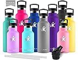 KollyKolla Bottiglia Termica per Acqua in Acciaio Inox, 750ml Senza BPA, Borraccia Sportiva Sottovuoto a Doppia Parete, Borracce Termiche per Bambini, Scuola, Ufficio, Sport, Palestra, Grigio