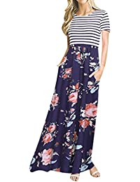 8dc2c3b2f491 Anglewolf Women s Fashion Bohemian Floral Printing Short Sleeve Maxi Tank  Long Dress Ladies Spring Summer Stripes Patchwork Jewelry Party…