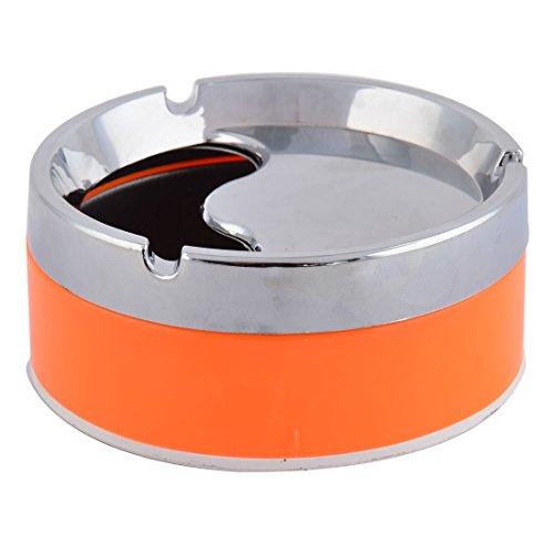 sourcingmap Haushalt Auto Zylinder Form Zigarette Fall verschließbare Aschenbecher Silber Ton Orange