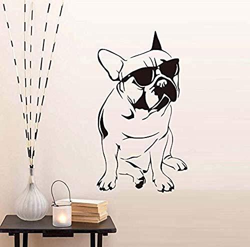 Muster Wandaufkleber Hübsche Französische Bulldogge Mit Sonnenbrille Wandaufkleber Für Jungen Schlafzimmer Vinyl Tier Wandtattoo Kids Home Decoration A43X77Cm