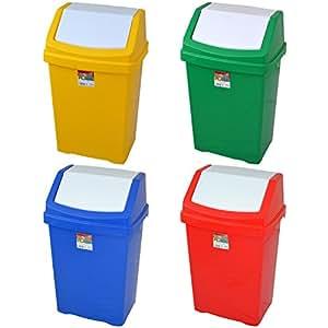 Poubelle de recyclage 50l–Rouge/Vert/Bleu/Jaune