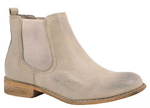 Elara Damen Chelsea Boots | Bequeme Flache Stiefel | Lederoptik Stiefeletten 503-PA-A-Grau-38