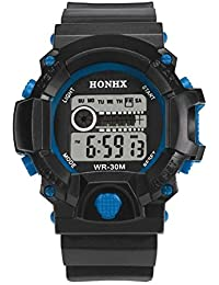 vovotrade Mens LED Digital reloj alarma de fecha de goma impermeable de deportes wristwatc ejército azul