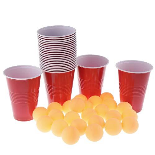F Fityle 24 Juego Vasos Rojas + Bolas Ping-Pong Juego