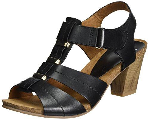 Caprice Damen 28309 Offene Sandalen mit Keilabsatz Schwarz (BLACK NAPPA)