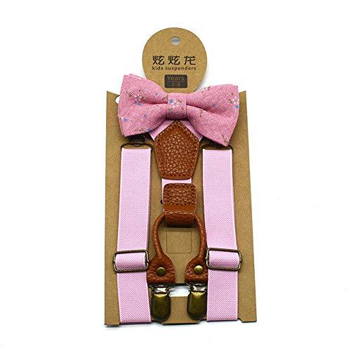 bobo4818 Kinder Baby Boys Hochzeit passende Hosenträger Hosenträger und Luxus Fliege Set (Rosa)