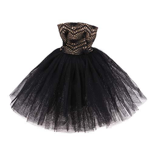 tigt Puppe Kleid Prinzessin Abendkleid Kleidung Für 1/4 weibliche Puppen Zubehör - Schwarz ()