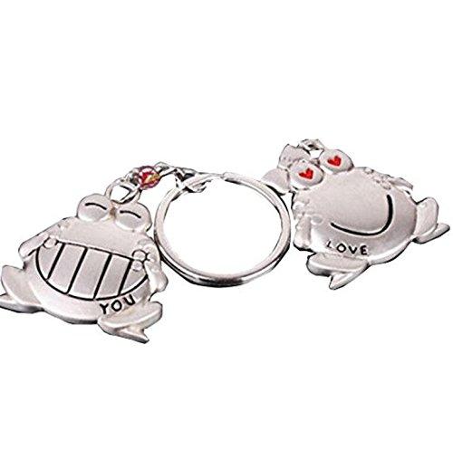 dersoning 1Paar Kette Schlüsselanhänger von Frosch (Silber)