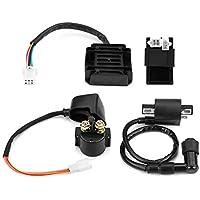 KIMISS Solenoide de relé,4 piezas Bobina + unidad CDI + regulador rectificador + solenoide para 150cc 250cc PIT Quad Dirt Bike ATV Buggy