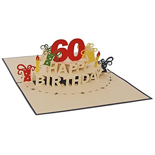 Favour Pop Up Glückwunschkarte zum runden 60. Geburtstag. Ein filigranes Kunstwerk, das sich beim Öffnen des gestalteten blauen Umschlags entfaltet. TA60B (15 x 20)