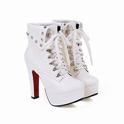 Mee Shoes Damen Schnürsenkel Plateau Nieten high heels Knöchelstiefel Weiß