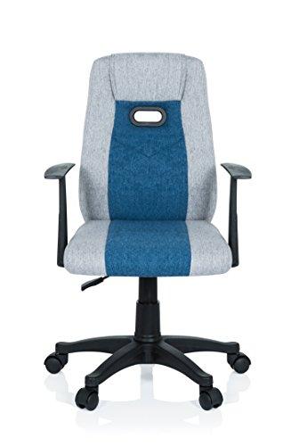 nder Schreibtischstuhl KIDDY EXTRA Stoff Grau-Blau Drehstuhl Ergonomisch mit Armlehne ()