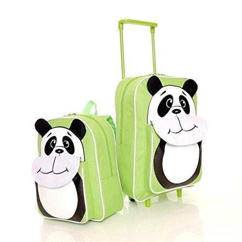 Karabar Wildlife Amici Bambini Trolley Borsa e Zaino (Verde Panda)
