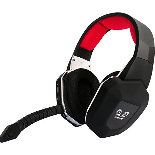 HUHD Gaming Headset PS4 Wireless Gaming Kopfhörer für Xbox One PS4 Xbox360 PS3 PC mit Abnehmbares Mikrofon Optisches Kabel LED Effekt (Rote)