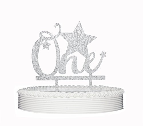 Birthday Cake Topper, 1st First Birthday ONE Star Premium Quality Acrylic Cake Topper for Birthday Party Decoration with Cardboard Packaging (Silver)