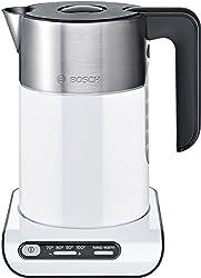 Bosch TWK8611P Styline Wasserkocher (2400 W, Temperaturauswahl, Abschaltautomatik, Warmhaltefunktion, Überhitzungsschutz, Fassungsvermögen 1,5 L) weiß