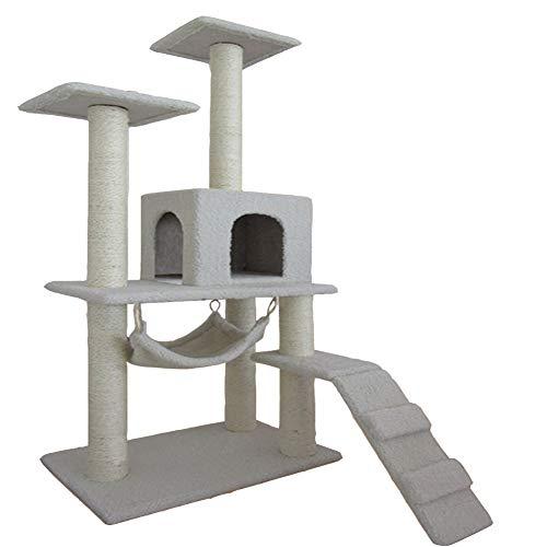 Cat Tree Condo Furniture Multi-Level-Deluxe und Seilkätzchen Activity Tower Pet Kitty Spielhaus mit Kratzbäumen Hängematte