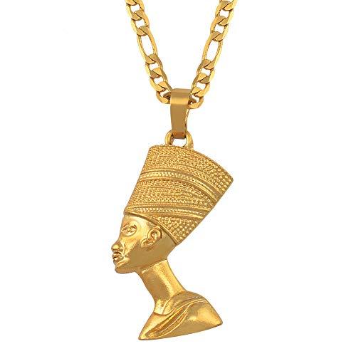 Königin Nofretete Kostüm - DADATU Halsketten für Herren Ägyptische Königin Nofretete Anhänger Halsketten Für Frauen Männer Schmuck Gold Farbe Großhandel Schmuck Afrikanischen Geschenk
