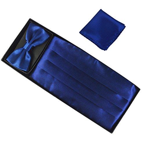 Ensemble de 3 pièces Ceinture de Smoking Noeud Papillon Cravate Lavallière Mouchoir De Poche Homme en Polyester pour Soirée Businesse Mariage Cérémonie Déco Fête Costume Complet Necktie Bleu foncé
