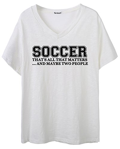 So'each Women's Soccer Letters Graphic V-Neck Tee T-shirt Ladies Casual Top Weiß
