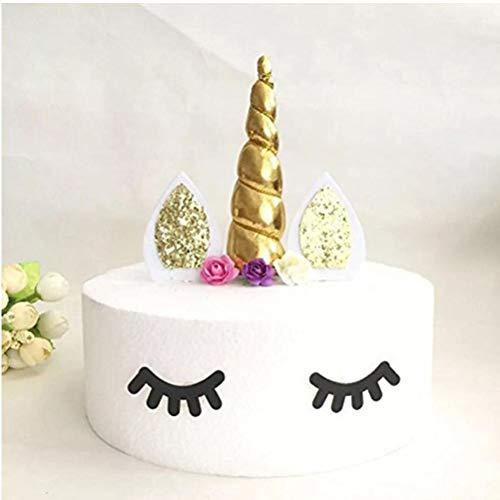 TOSSPER Wimpern Unicorn-Party-Kuchen-Dekoration Alles Gute zum Geburtstag Dekor Ainkhürn Kuchen-Deckel Kindergeburtstag Dekorative