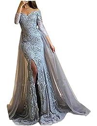 Victory Bridal Damen Fashion Etui Mermaid Abendkleider Lang Spitze  Ballkleider Fest Hochzeitskleider mit Schleppe b75c797963
