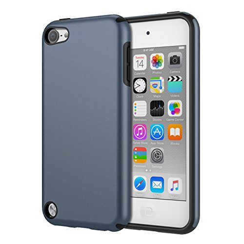 MoKo Hülle Kompatibel mit iPod Touch 2019/iPod Touch 7/ iPod Touch 5/6, 2 in 1 Stoßdämpfende TPU Stoßstange Ultra Slim Schutzhülle mit Hardcover für Apple iPod Touch 6./5. Generation, Blau - Ipod Schutzhülle Touch