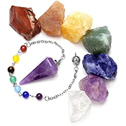 JSDDE 7Chakra Raw piedras en bruto Rock cristales y piedra natural, con péndulo radiestesia reiki Healing Equilibrio Meditación joyería Set