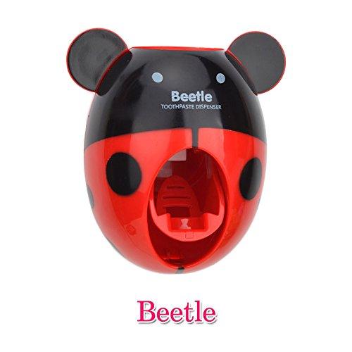 Bebé dispensadores de cepillo de dientes, los niños Manos libres dispensador de dientes BigNoseDeer niños dibujos animados automático linda animal dentífricos exprimidor buen regalo (RedBee)