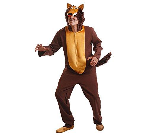 Imagen de disfraz de lobo marrón para hombre talla universal m l