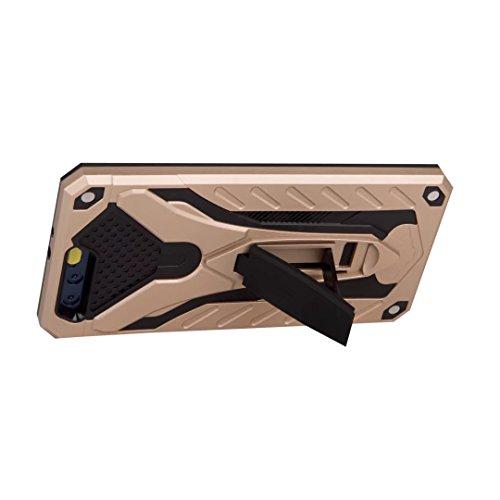 EKINHUI Case Cover Neue Stylish Hybrid Armor Schutzhülle Case Shockproof Dual Layer PC + TPU Back Cover mit Kickstand für [Shock Absorbtion] für Huawei P10 ( Color : Rosegold ) Gold