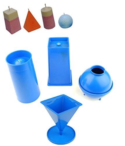 Proops Set von 4Kerzengießformen, 1x Pyramide, 1x Säule, 1x rechteckig konisch, 1x Kugel (S7566). -