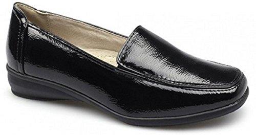 Chaussures de travail compensées avec doublure en cuir pour femme Coupe large et confortable Noir - Noir verni
