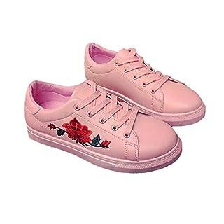 Frauen Bestickte Schuhe PU Leder Flache Ferse Schuhe Solide Schnürschuhe Low Top Flache Schuhe Allgleiches Wanderschuhe Turnschuhe - Rosa 39