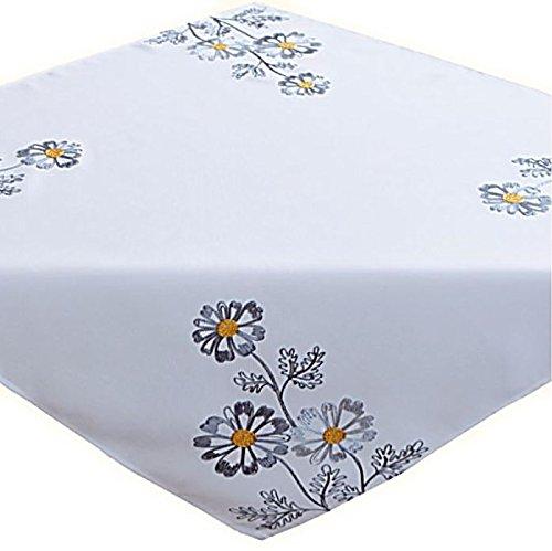 Tischdecke 85 x 85 cm Wollweiß Blumen Grau gestickt Mitteldecke Tischdekoration Frühling Sommer