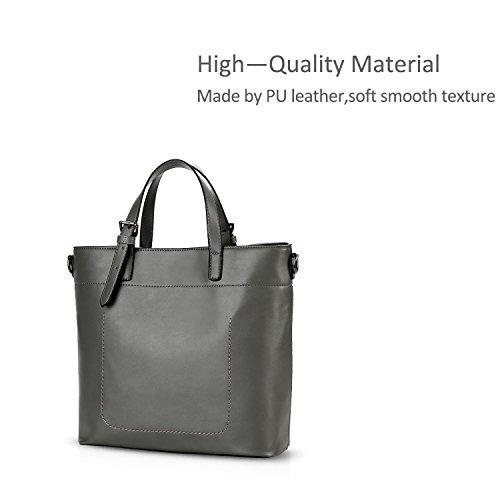 NICOLE&DORIS Frauen Einfache Top Handle Handtaschen Umhängetasche Crossbody Tasche Tote Satchel Large Capacity PU Leder Schwarz Grau