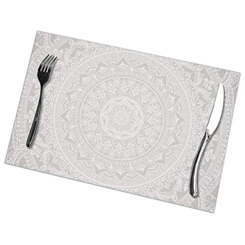 MrRui Table Mats Set of 6 Esstisch-Platzsets Mandala Soft Gray Placemats for Dining Table Washable Table Mats 12x18 Inch Soft Square Dinner Plate
