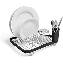 UMBRA Sinkin black. Egouttoir à vaisselle Sinkin, avec porte-couverts amovible convient à l'évier ou au comptoir, noir et fumé