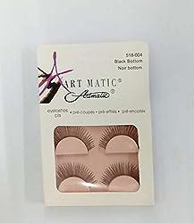 ARTMATIC Imported 2 Pair Black Natural Thick Long False Eyelashes with Adhesive - 518-004