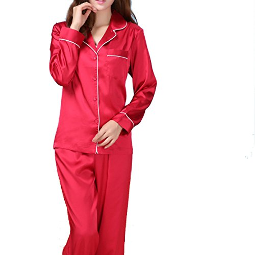 WS @ WX1023 Mme Soie à Manches Longues Pyjama red