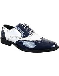 Patron Scarpe Classiche da Uomo in Finta Pelle Lucida con Lacci Stile  Elegante Brogue 573e8e12d68