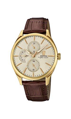 Festina Herren Analog Quarz Uhr mit Leder Armband F16993/1
