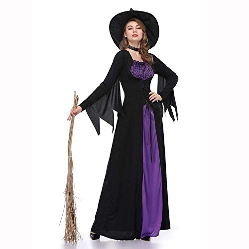 Fashion-Cos1 Frauen Lila Ganzkörperansicht Halloween Mantel Maskerade Cosplay Kostüme Hexenzauberer Magier Rollenspiel (Size : XL)