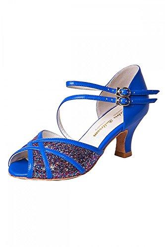 Electric Ballroom Betty Damen Standard Tanzschuhe mit Kreuzriemen Königsblau