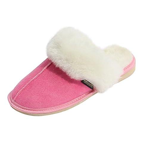 Lammfell Hausschuhe - POCAHONTAS Damen Pantoffeln Puschen Größe EUR 38, Farbe Pink