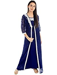 2e9876cc69 Patrorna Women s Lace Work A-line Embellished Nighty with Net Robe in Royal  Blue (